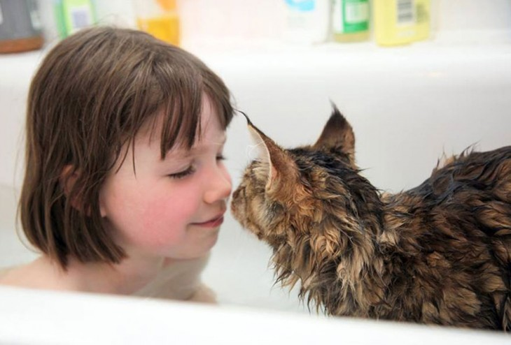 Niña en la tina de baño frente a su gato