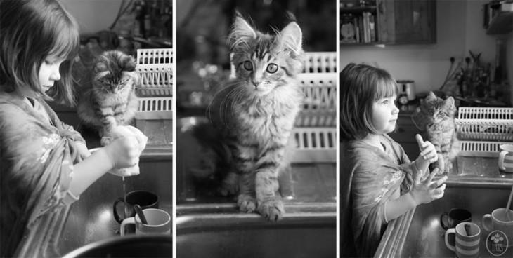 Imagen en tres secciones de una niña con autismo junto a su gato lavando trastes