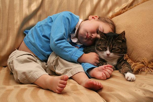 Niños recostado sobre el cuerpo de su gato