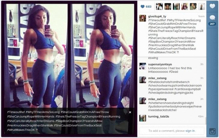 Fotografía de una chica que esta en su casa vestida con ropa deportiva publicada en facebook con muchos hashtag