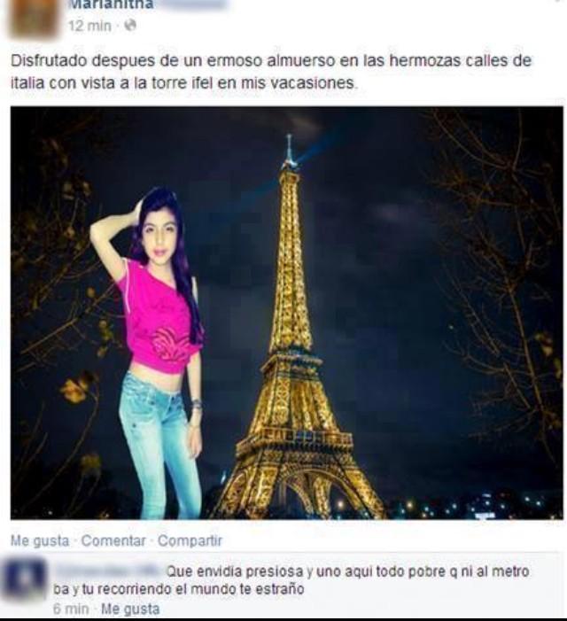 Captura de pantalla de una fotografía de una chica en Facebook que hizo photoshop de la torre Ifel