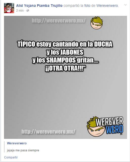 Captura de pantalla de una persona que comparte páginas en su Facebook