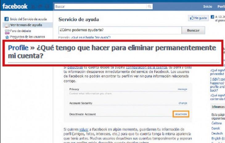 Captura de pantalla que muestra a una persona que pregunta como hacer para eliminar su Facebook