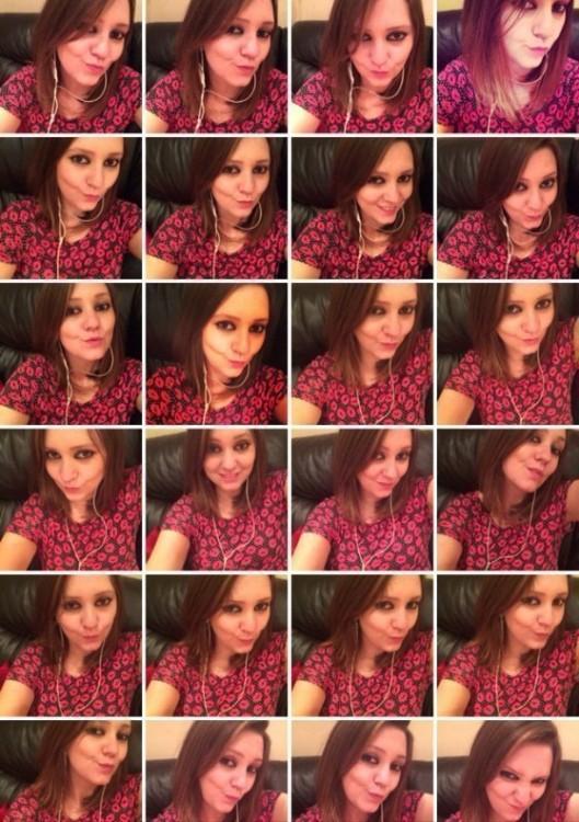 Imagen que se divide en diferentes cuadros de diferentes selfies tomadas durante un sólo día