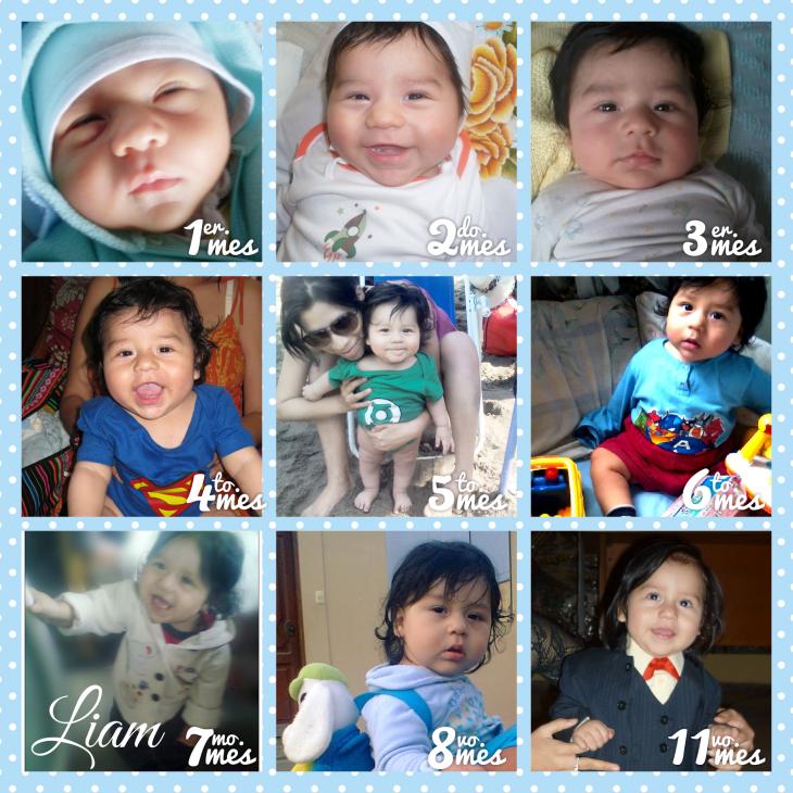 Fotografías que representan en una sola imagen el crecimiento de un bebé