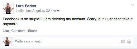 comentario de una chica diciendo que borrará su cuenta de Facebook