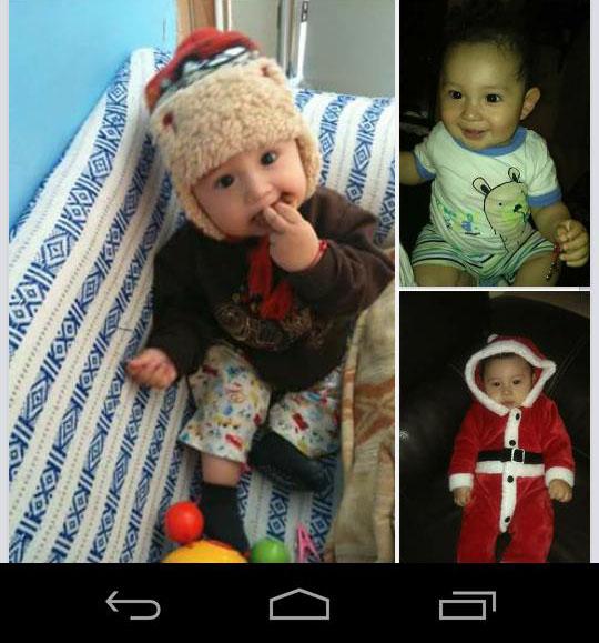 Fotografía con tres cuadros de un bebé