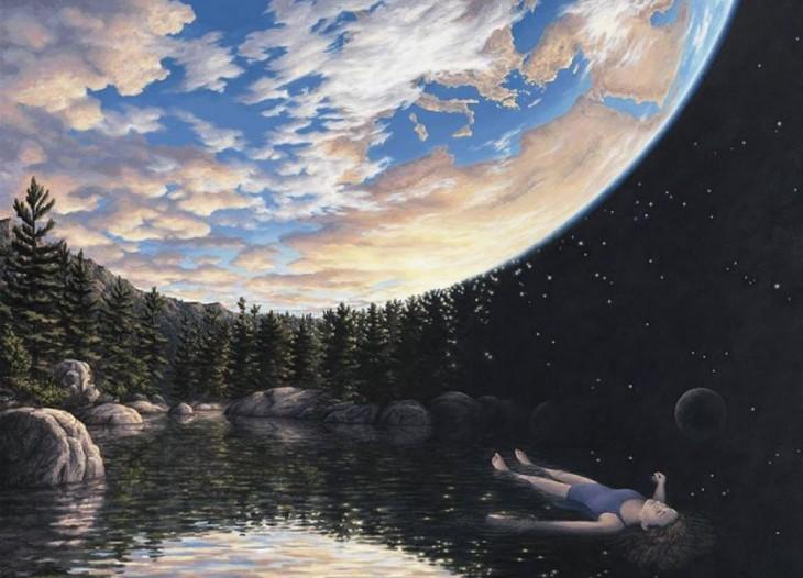 Pintura que tiene una niña flotando en el agua mirando hacia el cielo y el cielo con forma de planeta tierra