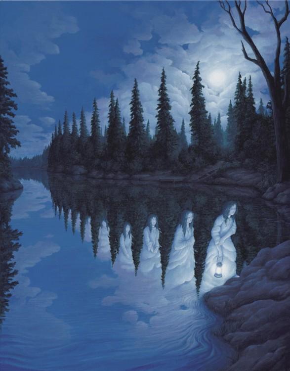 Un lago que simula que al final van saliendo espíritus con túnicas blancas y lamparas en las manos