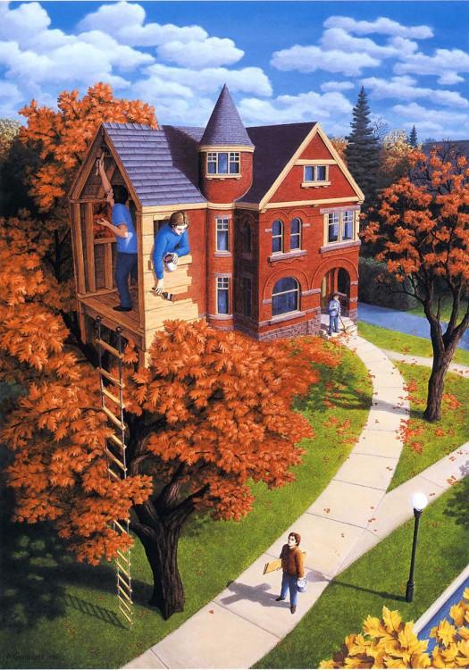 Personas sobre una casa del árbol junto a una casa de doble planta con una persona barriendo la calle