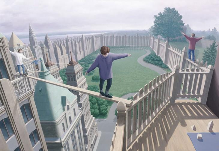 niños pasando a través de una tabla y esas tablas a lo lejos se convierten en edificios