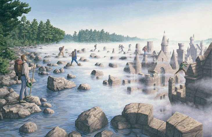 Personas subiendo a piedras para atravesar un lago o rios y a lo lejos esos piedras se convierten en torres