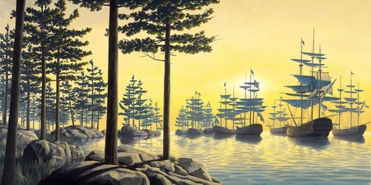 Pintura que muestra unos barcos y unos pinos sobre unas rocas en el bosque