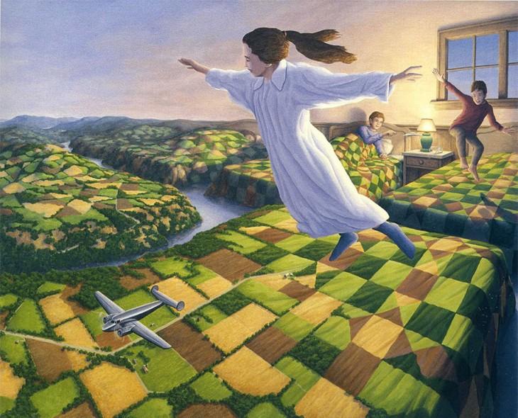 Pintura que muestra unas montañas de pastos verdes y a su vez unos niños saltando en sobres sus camas