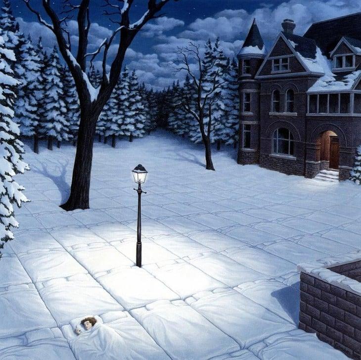 Pintura que simula una noche nevada en una calle y a una chica dormida en un colchón sobre el piso