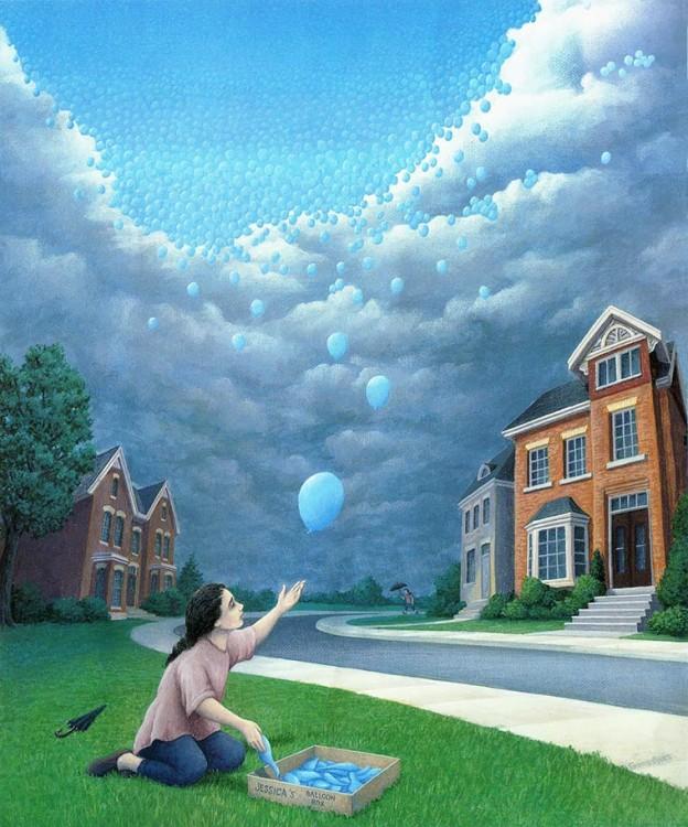 Niña soltando globos que forman un cielo y al otro lado un cielo nublado, personas con paraguas por la lluvia