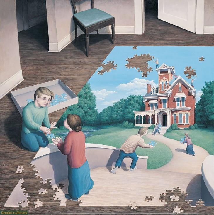 Personas armando un rompecabezas y existen personas dentro del rompecabezas que están arreglando una casa