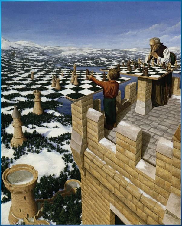 Niño jugando ajedrez con su abuelo y a lo lejos el tablero se va formando en pastizal y montañas