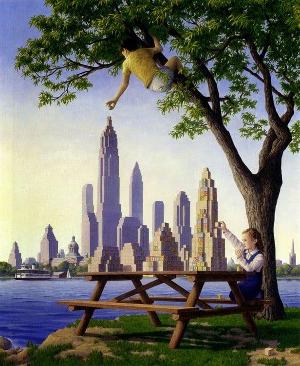 Pintura que representa a unos niños jugando en un parque bajo un árbol con bloques de madera