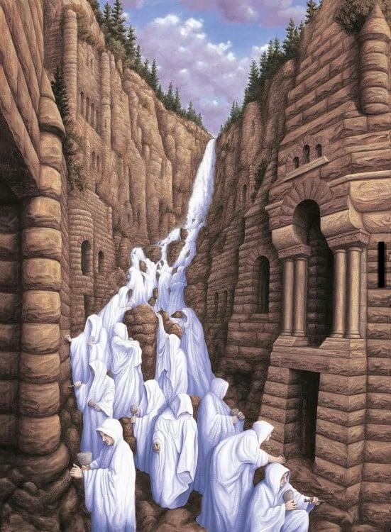 Pintura que simula hombres bajando de una montaña con cinceles