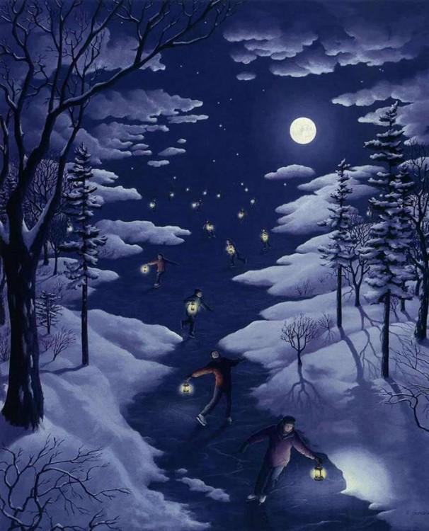 Pintura que muestra unas estrellas en el cielo y personas patinando en una noche con hielo