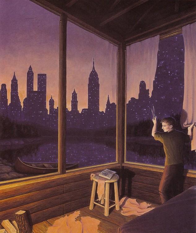 Chico cortando las cortinas de su casa y las cortinas simulan ser la sombra de una ciudad por la noche