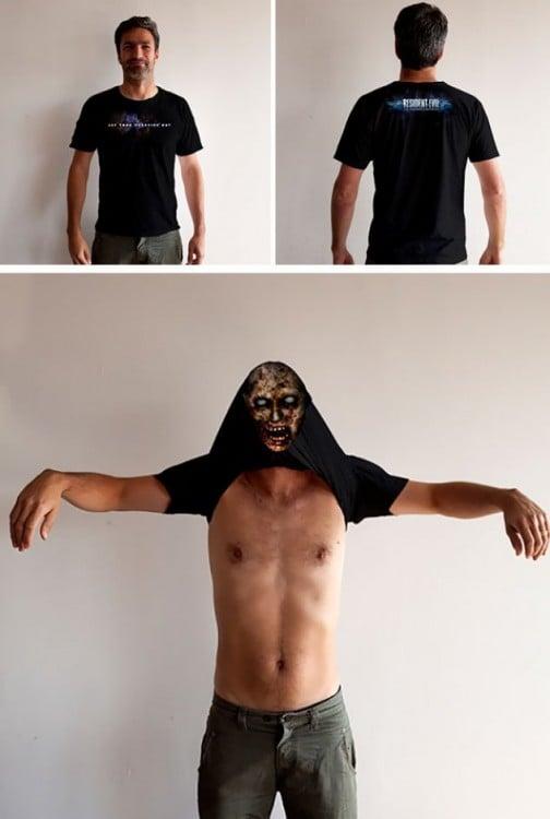 imagen dividida en 3 secciones de un hombre con una playera de zombie