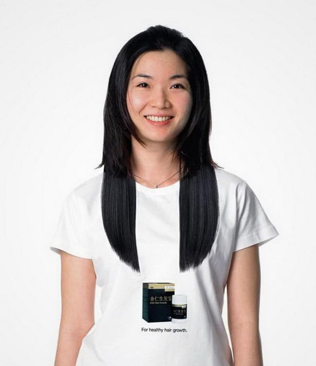 Playera de la parte delantera que simula tener el cabello largo una chica