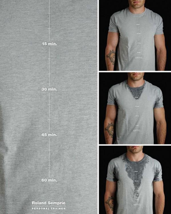 imagen en diferentes secciones que nos muestra una camisa con minutos hasta donde llega tu sudor