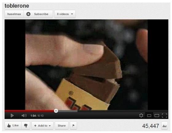Foto de un vídeo sobre el chocolate toblerone