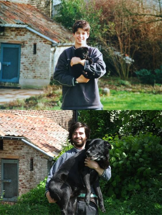 Foto de perro y dueño antes y después