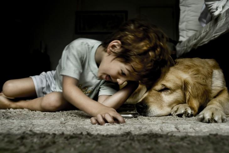 Niño jugando en el suelo con un perro