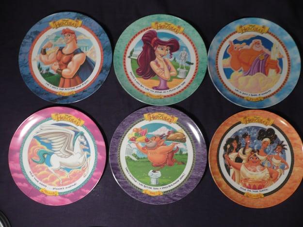 6 platos de comida en diferentes diseños de la película Hércules