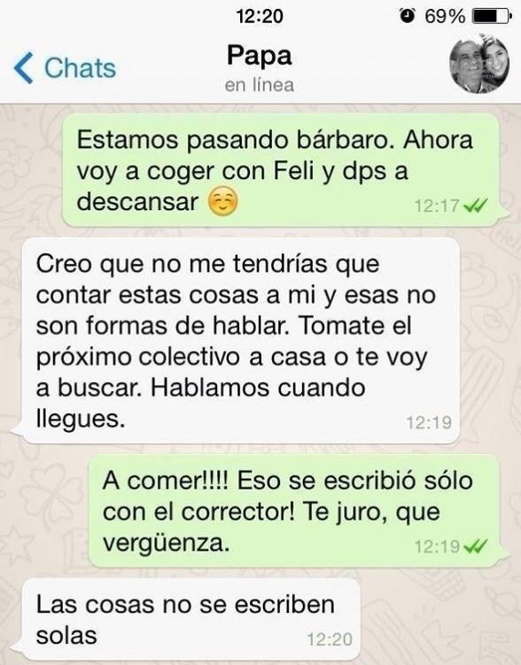 Mensaje de whatsapp trolleado por autocorrector que hace enojar a papá