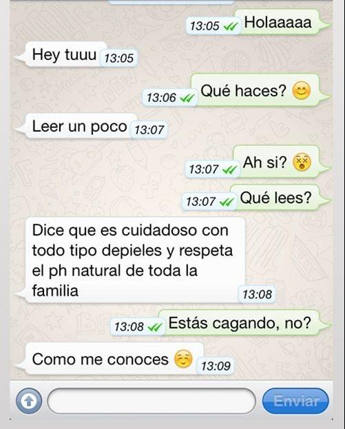 Mensaje de whatsapp enviado desde el baño