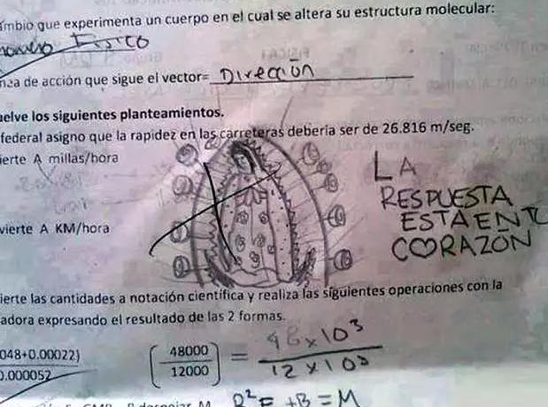 Dibujo de una virgen de Guadalupe en un examen