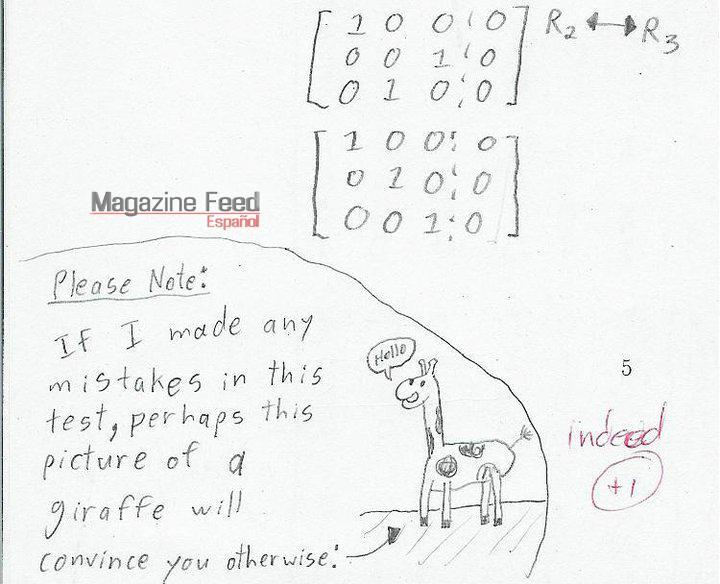 Nota para el profesor en un examen