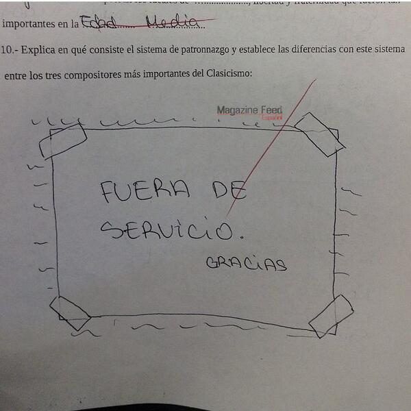 Respuesta ingeniosa en un examen