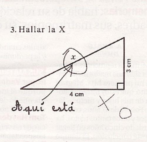 respuesta de un examen sobre hallar la x