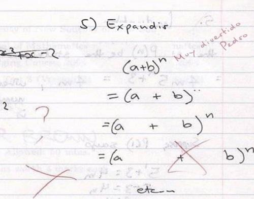 Respuesta de un examen de matemáticas