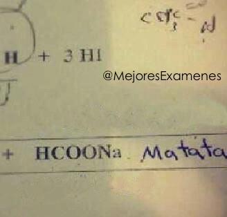 Respuesta creativa de un examen de química