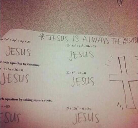 Examen en donde Jesús es la respuesta a todo