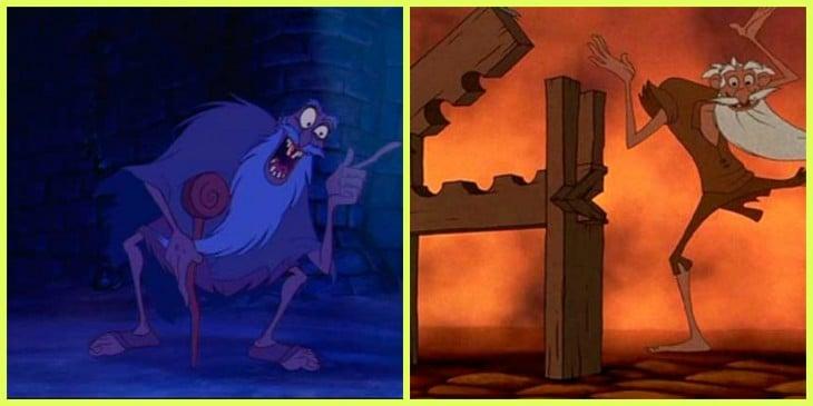 Comparación del viejo hereje de la película El jorobado y Jafar de Aladdín