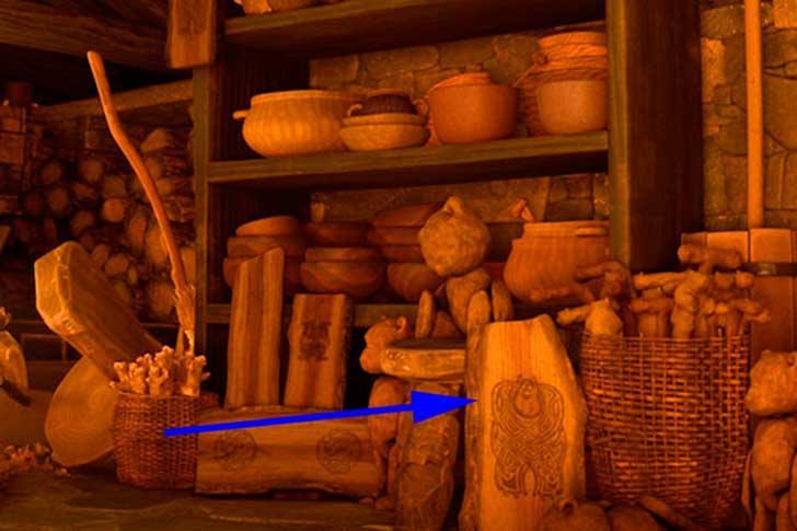 Sulley tallado en madera en la película de Valiente