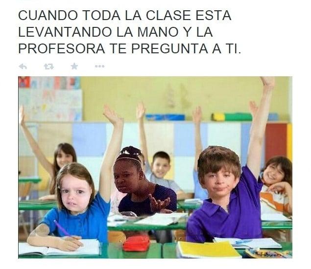 Meme cuando te preguntan algo en clase