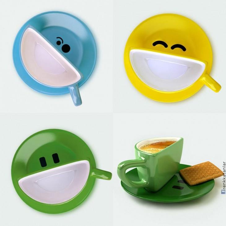 Set de tazas creativas con sonrisas