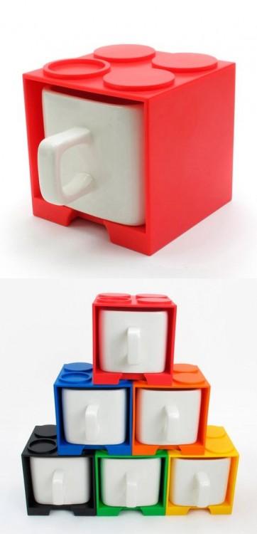 Tazas con diseño de cubos Lego
