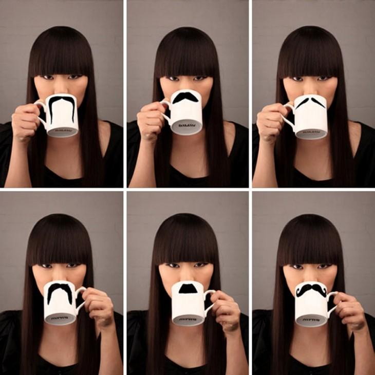 Tazas con diferentes estilos de bigote