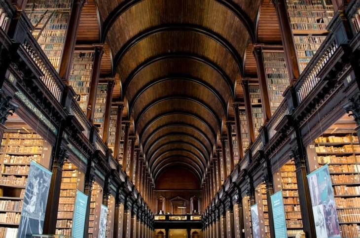 Biblioteca con un techo de madera en forma de arcos y con algunos tubos en color negro
