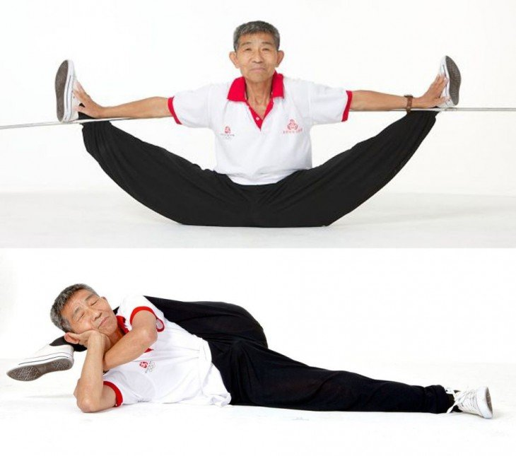 Hombre de la tercera edad con demasiada elasticidad